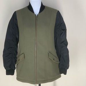 a.n.a Olive Green Bomber Jacket With Black Sleeves